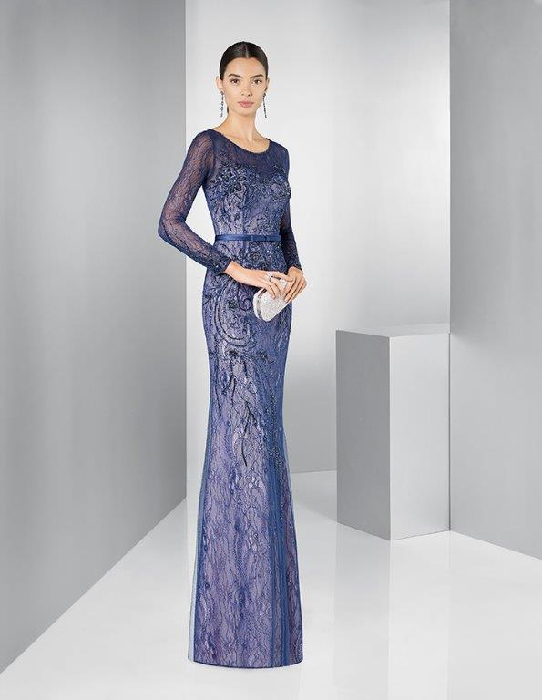 Lace full length dress with waist band.