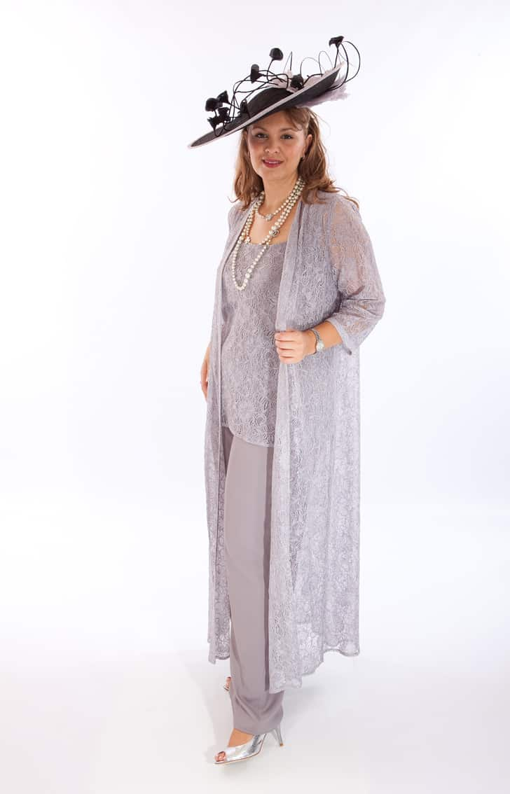 3 piece lace trouser suit with long coat. Miranda (001410)