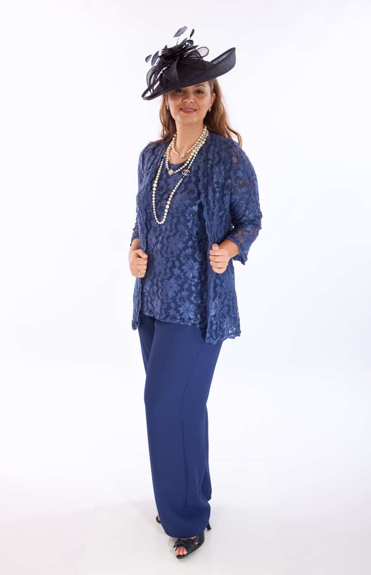 3 piece lace trouser suit with long coat. Audrey (002548)