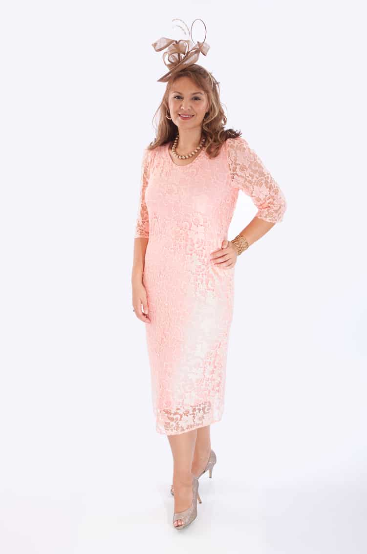 Mid length dress with lace overlay and lace sleeves. Adele (001420)