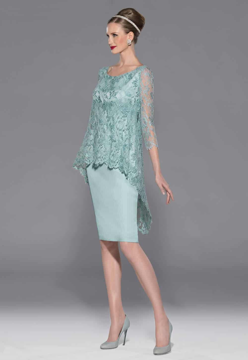 Knee length dress with lace overlay and lace sleeves. 3422-V-4 (000748)