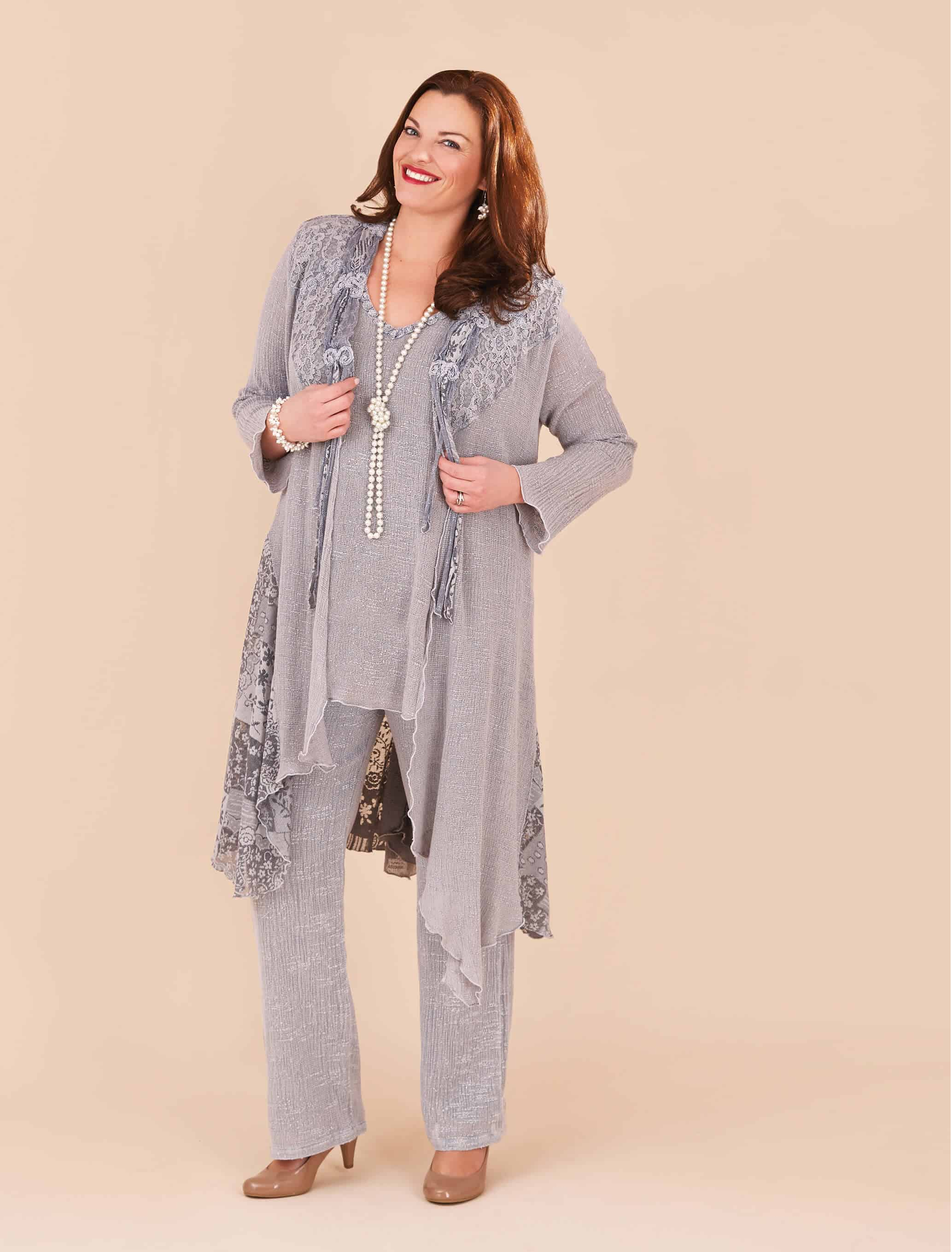 3 piece Italian lace trouser suit with water full coat.