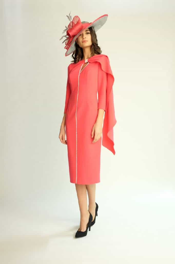 Mid length dress with sleeves and detail. 6479 (003803)