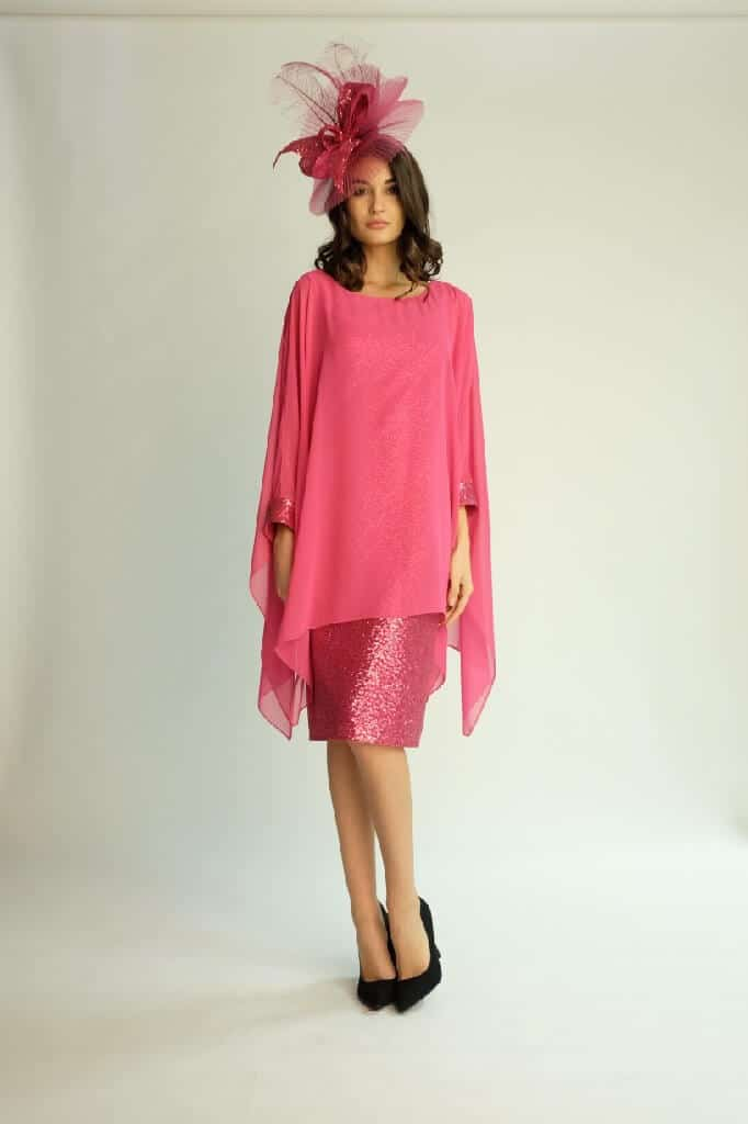 Knee length sequin dress with chiffon cape sleeves. 3362 (003809)