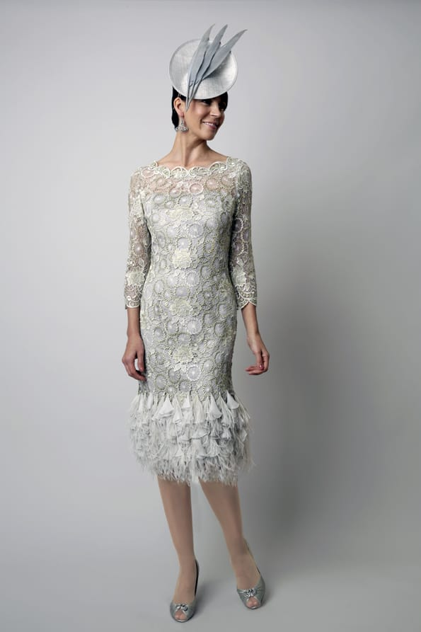 Mid length feather hem dress. 3015 (004120)