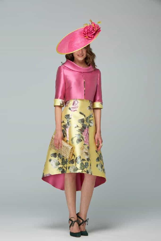 Spectacular high/low dipped hem fit and flair, patterned dress with modern rear facing matching jacket. Available in yellow, blue and pink - 6220 (003021)