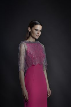 Absolutely stunning knee length fitted dress with sheer lace rear facing jacket. Pink/black - 18122 (004043)
