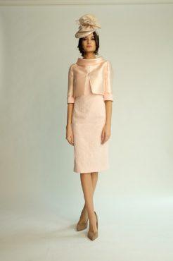 Knee length cap sleeve dress with high neck backwards jacket. 6489 (003817)