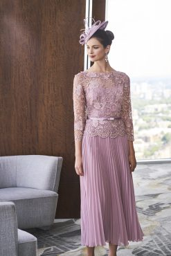 Mid length A-line dress with lace bodice.