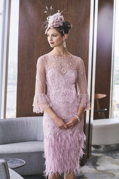 Mid length lace feather hem dress with bell sleeves. 4016 (003964)
