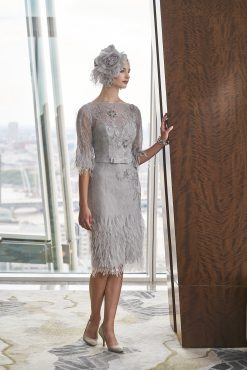 Mid length lace dress with feather hem. 4018 (003962)