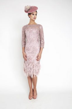 Mid length dress with feather hem. 3015 (004120)