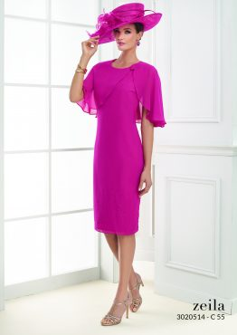 Knee length chiffon dress with cape detail.