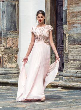 Long chiffon dress with wrap. 8879 (004143)