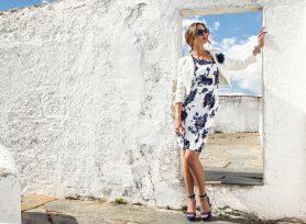Knee length dress with jacket. 8877/8815 (003994)