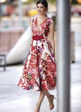 Tea length dress with flowers. 94595 (003501)