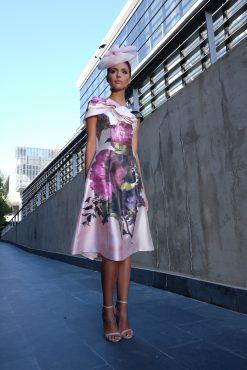 Tea length dress with wrap.