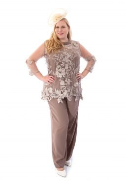3 piece trouser suit with backwards lace jacket. Penelope (004085)