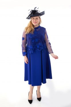 Tea length dress with lace backwards jacket. Valentine (004084)