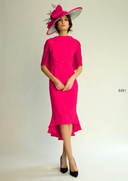 Mid length dress with cowl neck line and tail bottom. 6491 (003802)