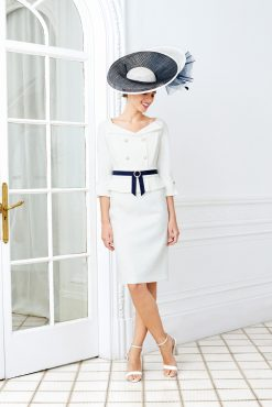 Stunning dress and jacket with the added wow factor of the button front and eye catching belt. Available in white - D813-137 (00