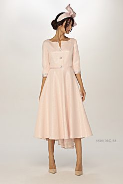 Flattering high/low dipped hem fit and flair dress with button detail on the front. Available in pink - 3403/GJ05 (004410)
