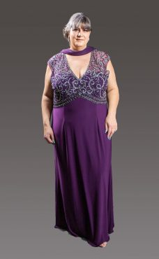 A-Line floor length sweetheart neck line dress with the top section nestled behind a layer of beaded lace and full chiffon floating skirt. Purple - 31013405 (003983)