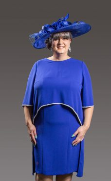 Sophisticated with that splash of elegance. This gorgeous dress has a round neck, sleeveless and slight split at the back adding a touch of glamour and a stunning diamante tipped separate cape which is waist length at the front and floats down longer at the back - fuchsia, royal blue, soft pink and sky blue - 6080-3-3902-0359 (003890)