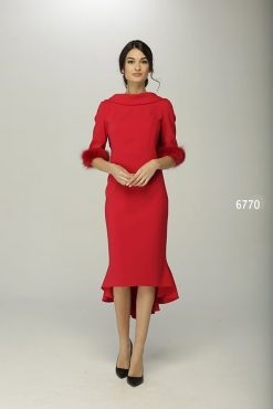 Sensational fitted dress with stunning fur 3/4 length sleeve cuff and dipped hem, high low fishtail theme to the rear. Available in red and cobalt - 6770 (004588)