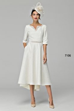 High low dipped hem dress with pearl detail 7106 (004696)